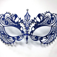 BLUE Crystal Beautiful Eyes Laser Cut Venetian Mask Masquerade Metal auction