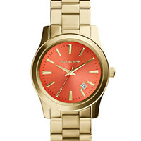 Michael Kors Mid-Size Golden Stainless Steel Runway Three-Hand Watch