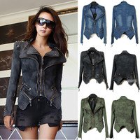 Chic Fashion Women Punk Strong Spike Studded Shoulder Denim Cropped Jacket Coat