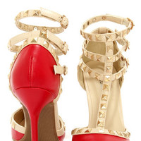 Wild Diva Lounge Adora 55 Red Studded T-Strap Pointed Heels