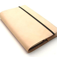 Refillable Journal Cover - Handmade Vegetable Tanned Leather - Natural Tan Color - Large Moleskine Cover