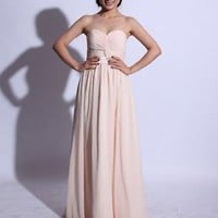 Strapless Sweetheart Long Chiffon Cream Prom Dresses