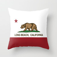 Long Beach California Republic Flag Throw Pillow by NorCal