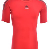 Adidas Red Mens Techfit Baselayer Shirt Top - E18251RED