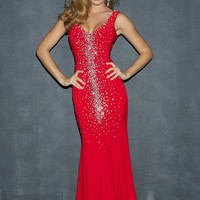 Night Moves 7029 Stretch Jersey Evening Dress