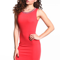 RHINESTONE COLLAR BODYCON DRESS