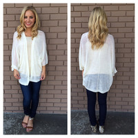 White Light Knit Tribal Short Sleeve Cardigan
