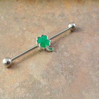 SALE - Four Leaf Clover Industrial Barbell Piercing Upper Ear Ring Cartilage Piercing