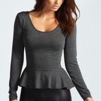 Aliya Long Sleeve Vicose Peplum Top