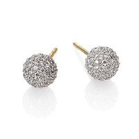 Diamond and 18K White Gold Sphere Earrings