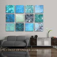 Huge Living Room Wall Art, - 12 panel ORIGINAL Abstract Painting - Ocean, Sea, Water, Blue, Green, Gray, Mellow colors