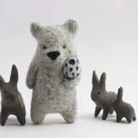 Light grey bear with an owl in paw by ememem on Etsy