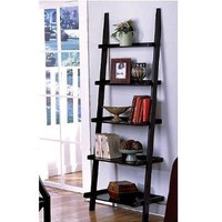 "Amazon.com: Unique 72"" High LEANING LADDER STYLE MAGAZINE / BOOK SHELF on Black Finish: Home & Kitchen"
