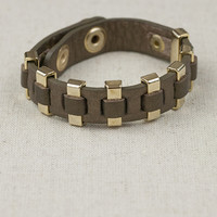 Leather and Studs Muffin Bracelet in Bronze