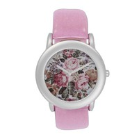 old roses vintage fabric glitter watch