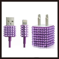 2pc Set Wall Charger + Cable for Iphone 5, 5s, 5c - Rhinestone Diamond Bling (Purple)
