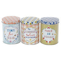Set of three floral storage tins at debenhams.com