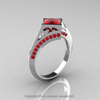 Modern French 14K White Gold 1.23 Ct Princess Rubies Engagement Ring Wedding Ring R176-14WGR