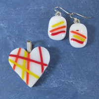 Colorful Pendant and Earring Set, Striped Jewelry Set, Colorful Fashion Jewelry - Delighted - 4469 -4