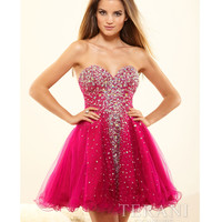 Terani 2014 Prom Dresses - Fuchsia Crystal Strapless Sweetheart Prom Dress