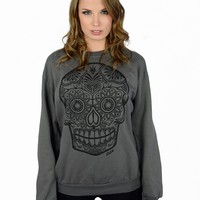 Sugar Skull crewneck sweatshirt Womens - Outerwear - Women - Paper Alligator