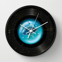 Fish Pop (Vinyl Aquarium) Wall Clock by Texnotropio
