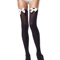 Black Opaque Polka Dot Thigh Highs : Perfect for Rave Outfits and Clothing