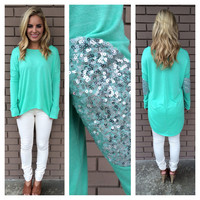 Mint SilverShine Long Sleeve Sweater Top