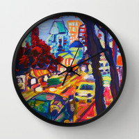 Rushing From Downtown  Wall Clock by Morgan Ralston