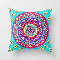 Round Retro Throw Pillow by PeriwinklePeacoat