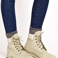"Timberland 6"" Premium Winter White Lace Up Flat Boot"