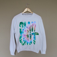Tye Dye Chill Out - White Crewneck Sweatshirt /