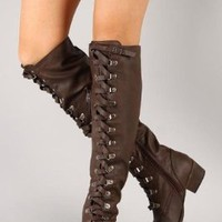 New Ladies Brown Leatherette Knee High Military Lace up Boot with side Zip