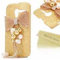 Mavis's Diary for Motorala Moto X Phone 3D Handmade Fashion Bling Gold Metal Design Crystal Pendant Bow Diamond Rhinestone Bling Hard Cover Case with Soft Clean Cloth - Gold
