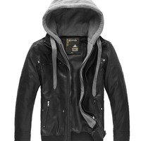 Men's Fashion Fall-Winter Heavy Leather Jackets Removable Hood XZ407-6519 (M (US X-Small)), Black(heavy)