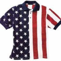 Patriotic Stars  Stripes Polo Shirt U.S.A. Made by FlagCothes