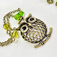 Brass owl pendant necklace on brass chain wil crystals