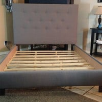 Queen headboard and bed frame Gray Linen upholstered