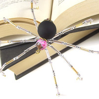 Lovely Pink and Black Beaded Christmas Spider Ornament - Legend of the Christmas Spider