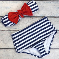 Sailor's Girl Navy Striped Red Bow High-Waist Bikini