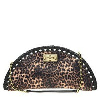 Black Astor Leopard Fan Clutch Bag