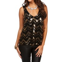 SALE-Gold Chevron Sequin Tank