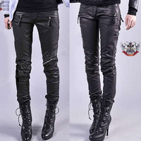 Armor Biker Racing Vegan LEATHER Slim Cigarette Pants M