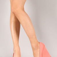 Qupid Worthy-167 Nubuck Round Toe Platform Wedge