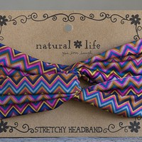 Multi Color Zig Zag Stretchy Headband