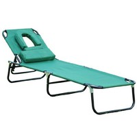 Outsunny Folding Face Down Opening Beach Sun Lounger, Green