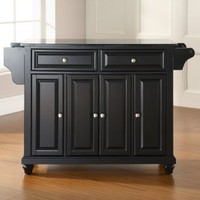 Cambridge Solid Black Granite Top Kitchen Island - Kitchen Islands and Carts at eKitchen Islands