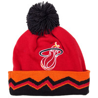 Mitchell and Ness NBA HWC Safari Cuffed Pom Beanie - Miami Heat