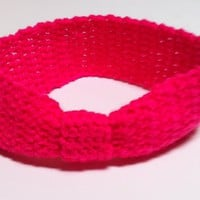 Child Size Crochet Hot Pink Headband