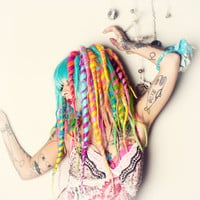 Candy Dreadlock Wig, bright colorful dread locks Big Cosplay Festival Hair, Bohemian Circus Performer, Crude Things